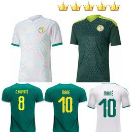 Squadre di jersey verde di calcio online-20 21 Senegal Soccer Jersey Top Quality Senegal 2020 2021 Bianco Bianco Away Green Balde Koulibaly Mane Football Team Jerseys Camicia calcio
