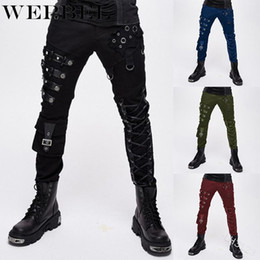Ropa punk xs online-WEPBEL Women Fashion Punk Pencil Pants Women Trousers Gothic Clothing with Metal Decoration Rock Zipper Pants