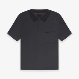 Poche t shirt polo en Ligne-21SS FG 7ème collection Pocket Pocket Flocking Polo surdimensionné T-shirt High Street Street Sleeve Tee Couple Femmes Mens Chemises