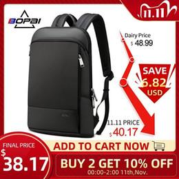 borsa slim portatile Sconti Bopai Slim Laptop Uomini da 15.6 pollici Office Work Donne Business Bag Unisex Nero Zaino Ultralight Zaino Thin Back Pack Q1110