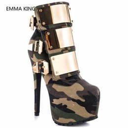 Bombas de tacones verdes online-Nueva moda Army Green Women Toble Boots Glitter Metal Super High High High Pumps Ladies Winter Plataforma Zapatos Mujer Camuflaje Boot1