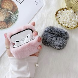 Caso airpods grigio online-Copertura Wireless Headset calda inverno Fluffy Furry Rosa Grigio Bluetooth per Apple Airpods 1 2 Pro carica Caso