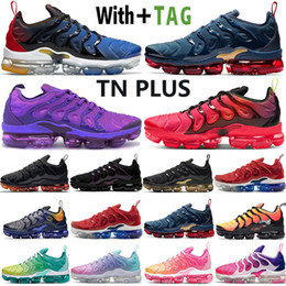 Nouvelles chaussures de marque pour femmes en Ligne-2021 New Arrival Top Quality Vapors TN Plus Midnight Navy Lemon Lime Silver USA Mens Women Running Shoes Designer Sports Sneakers Mens Trainers Women Outdoor Shoes Size 36-45