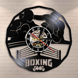 reloj de gimnasia Rebajas Boxing Gym sesión de boxeo con el hogar Arte reloj de pared de decoración de la pared del reloj de juego del boxeo de vinilo reloj de pared de registro