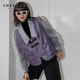 Cappotto in pelle viola online-Cheerpart Purple Bolder Sleeve Donna Giacca in pelle Designer Cappotto Mesh Furax in pelle Giacca di modo Donne Capispalla autunno