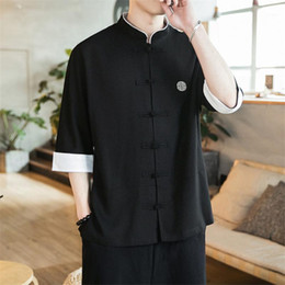 2021 chemises en lin chine 2019 New Chinois Style Hommes Tops Tang Costume Linge à manches longues Solide Solide China Style Hanfu Shirt Plus Taille M-5XL1