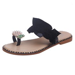 Womens Floral Clip Toe Flat Sandals Vintage Bohemian Slip On Flip Flips Slingback Waterproof Sandals Outdoor Beach Party Shoes