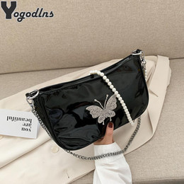 papillon designer sacs Promotion Fashion Butterfly Pearl Design Fashion Femmes Sacs Armpit Filles Baguette Sacs Femme Mini Shopping Sac à main Vintage Chain Hobo Sac