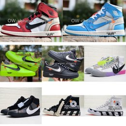 Sapatos de basquete homens on-line-Nike air jordan 1 AJ1 OW SB BLAZER 77 AIRFORCE 1 1 chaussures blanc Designer chaussures Blazer Mid Union Off Hommes Femmes basket-ball course vdbt de # de chaussures
