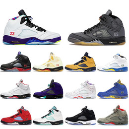 2021 ailes pour hommes Nouvelle voile blanche Jumpman 5 5s Top 3 Feu Red Oregon Hommes Basketball Chaussures de basket-ball Michigan Huile Gris Sneakers Baskets Sports Mens Sports