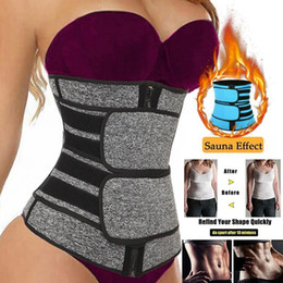 Sauna abnehmen bauch online-US Stock Taille Trainer Frauen Abnehmen Mantel Bauch Reduzieren Shapewear Bauch Shaper Sweat Body Shaper Sauna Korsett Workout Trimmer Gürtel