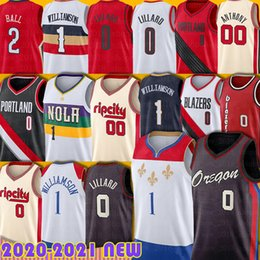 2021 camisa bola 2 lonzo Damian 0 Lillard Zion 1 Williamson Jersey Portlands Lonzo 2 Ball Brandon 14 Ingram Carmelo 00 Antônio Jerseys New Men Basquete Basquete