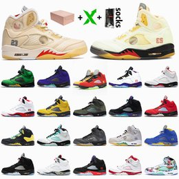 oregon pato basquete Desconto nike air jordan 5 5s off white jordan retro 5 Com Box Luxo JUMPMAN tênis de basquete Branco Off Sail Fire Red 5 Mens cetimJordâniaRetro Oregon Ducks rosa Foam