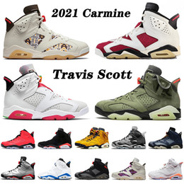 Gris retro zapato online-retro 6 6s travis scott 2021 Recién llegado Carmine Basketball Shoes 6 6s Hombres Mujeres Travis Scott Jumpman Hare Quai 54 Smoke Grey Sneakers Black Infrared Trainers 36-47