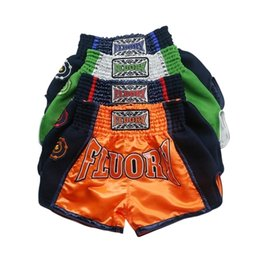 parches bordados para niños Rebajas Niños Fluory Muay Thai Bordado Patch Kick Boxing Shorts 201216