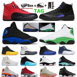 Tênis de basquete 12 on-line-Reverse Flu Game University Gold 12 12s Playground Lucky Green 13 13s Mens Jumpman Basketball Shoes Hyper Royal Dark Concord Sports Shoe