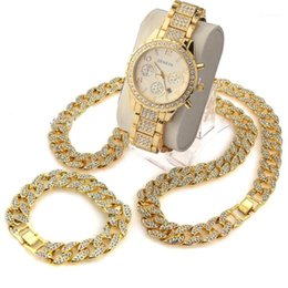 "2021 brillantes cadenas de piedra 3 PCS / SET BLINGPLING HIP HOP Shining Stones Watch 24 ""Iced Out Cuban Stone Chain Pulsera Backleace Set1 brillantes cadenas de piedra baratos"