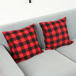 preto capa de almofada Desconto Buffalo Natal Verifique manta Throw Pillow Covers Caso Almofada para Farmhouse Home Decor Red e Black 18 Inch fronha DWA2255
