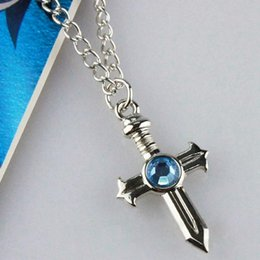 collier queue de fée Promotion Anime Collier Fairy Tail Bijoux gris Fullbuster Croix collier pendentif cosplay Toy