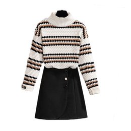 Raya de chenilla online-MS Turtleneck Chenille Pullovers Stripe Sweatecoat Female Flowed Weeks Overse Proporment Traje Otoño Outfit Outfit Vogue Set