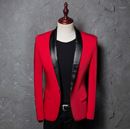 costumes de danse coréenne Promotion Hommes Slim Sucks Designs Korean Homme Terno Status Costumes pour chanteurs Hommes Blazer rouge Blazer Dance Veste Star Star Style Robe Punk1