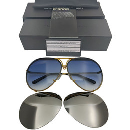 occhiali intercambiabili Sconti Porsche Design Brand P 8478 Sunglasse Replaceable lens Anti Reflective Women Mirror Sun Glasses Oval Men Interchangeable Lens Sunglasses