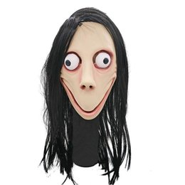 Parrucca maschera femminile online-No Bang Giocare Mask Tern MOMO Game Party Style Mask Wig Halloween fantasma femminile Maschere Festival SCARY Morte accessori T191010 No Bang Pla Uope