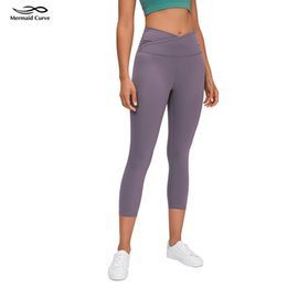 "curve pantaloni Sconti curva Mermaid Allinea Crop 21"" leggings Inseam Yoga High Rise Croce Donne Vita stretta Yoga Pantaloni Buttery-Soft Tessuto pantaloni di Capris 201015"