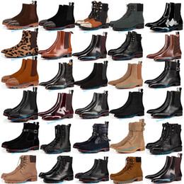2021 par de botas de sapatos Top parte inferior vermelha de couro genuíno Casual Botas Sapatos de Tachas Spikes Flats Red Party pares preto sapatas do amante do partido alto com Box Tamanho 34-48