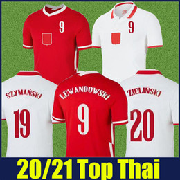 lewandowski maglia rossa Sconti 2020 2021 Polska Lewandowski Jersey Football Jersey National Team Bianco Casa Bianco Rosso Away Shirts Zielinski Piatk Milik Piszczek Uniform uniforme 20/21