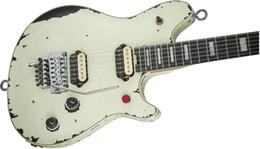 Interruptor de guitarra elétrica on-line-Aged gangue Eddie Van Halen Guitar Wolf Branco Relic Vintage Electric Guitar interruptor Red Tremolo
