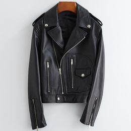 Nerazzurri Short red black faux leather jacket women long sleeve plus size leather biker jacket women Spring motorcycle jacket LJ201012