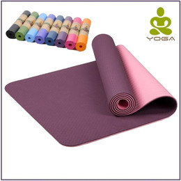 marques de tapis de yoga Promotion 6MM TPE antidérapant tapis de yoga pour le fitness Insipide Marque Pilates Mat 8color Gym Exercise Sport Tapis Tapis avec Yoga Sac Yoga Sangle 201106