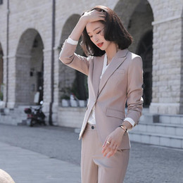 2021 pantaloni uniformi neri per le donne 2020 Business Pant Suit Suit Femmina Elegante Ufficio formale Ufficio Lady Giacca e Long Blazer Blazer Blazer Donne 2 Due pezzi Suits1