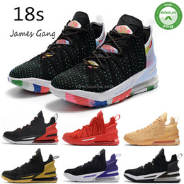 Chaussures de basket-ball lebron en Ligne-LeBron 18 18 hommes chaussures de basket-ball James 18s Cour Sisterhood Violet James Gang or noir Empire Bred Jade Oreo des hommes de espadrille Sports de plein air