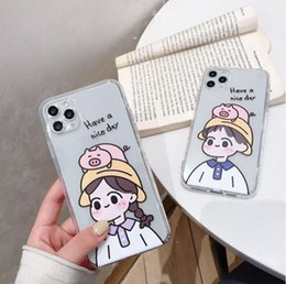 Casi cute iphone online-coppia cute del fumetto del DHL 100pcs adatto a iphone 11 cassa del telefono mobile iphone 12/12 pro caso max