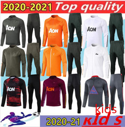 2021 tuta sportiva per bambini 19 20 kids manchester training suit Lukaku RASHFORD football jacket sportswear blue foot jogging 2019 POGBA United Soccer Tracksuit