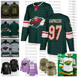 2021 chemise camo 2021 inverse rétro Personnaliser # 97 Kirill Kaprizov Minnesota Wild Hockey Jerseys Golden Edition Camo Vétérans Day Fights Cancer Cancer Shirts