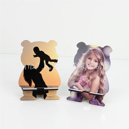 Supports de bricolage en Ligne-Sublimation Mobile Phone Support Bear Shape Blank Imprimé Image Porte-documents Diy Cartoon Téléphones Stand Portable Woodiness Cadeau 4 1BD G2