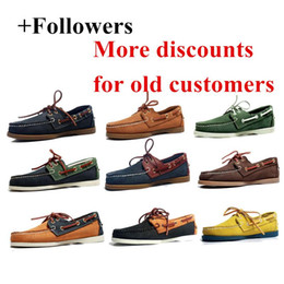 barca a ponte Sconti Mens casuali Genuine Leather Docksides sdraio Lace Up Moccain barca fannulloni calza il formato handmade dei pattini di guida unisex plus