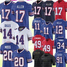 2021 джерси все  17 Буффало Джош Аллен Стефон Диггс Джерси Zack Moss Thurman Thomas Tremaine Edmunds Cole Beasley Jim Kelly Jersey Tre' All All Alliver Oliver