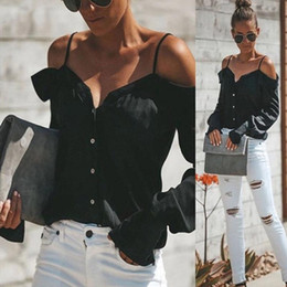 off cinghie camicetta spalla Sconti HOOLO Donne Estate Summer Sexy Off Shoulto Top Casual Buttons Strap Straw Donne Camicie Long Lantern Sleeve Solid Neck Clow Blusa