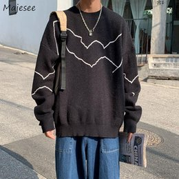Einfache strickpullover online-Herren Pullover Übergroße Lose Harajuku Strickpullover Männliche Retro All-Match Simple Trendy Streetwear Casual Korean Stil Kleidung