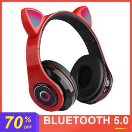 bouchons d'oreille bluetooth sans fil  Promotion oreille de chat écouteurs B39 casque sans fil Bluetooth écouteurs LED Cat Ear Noise Cancelling Headset TF carte 3.5mm
