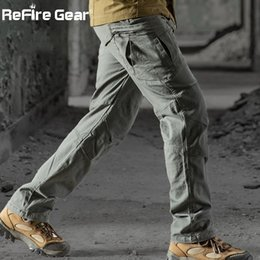 Equipaggiamento tattico dell'esercito online-Rifilo Gear Gear Military Tactical Cargo Pants Men Swat Combat Rip-Stop Molti Pocket Army Pantalone Stretch Cotton Casual Work Pant 201109