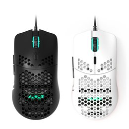 Laptop de jogo branco on-line-New Honeycomb Shell Gaming Mouse Pixart 16000dpi Sensor óptico e RGB White Wired Jogo Mouse para PC Laptop Gaming Gamer LJ200930