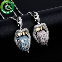 diseño de grandes collares colgantes Rebajas Mujeres para hombre joyería helado out colgante Hip Hop Luxury Designer Collar Bling Diamond Exagerated Big Boca con la lengua de dólar fuera de moda Nuevo