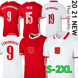 lewandowski maglia rossa Sconti 2020 2021 Poland Lewandowski National Team soccer jerseys Home White Away Red Milik Piszczek PIATEK Grosicki Jersey Camicie da calcio