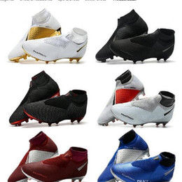 Calçados esportivos botas de futebol on-line-Caixa Dupla Mens Futebol Cleats Phantom vsn Elite DF AG SUOCK SUOCK SUOCK SOUTING X EA SPORTS Phantom Vision Futebol Boots Scarpe Calcio