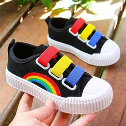 niños holgazanes negros Rebajas Rainbow Kids Slips on lienzo Sneakers Soft Girls Casual Shoes Boys Colorido Lienzo Loafer Zapatos para niños zapatillas de deporte para niños